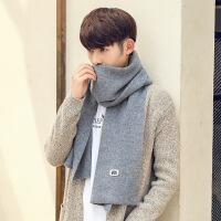 围巾男冬季韩版百搭简约纯色仿羊绒男士韩版针织毛线长款保暖围脖