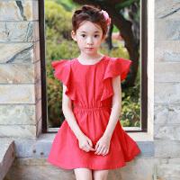 夏季新品童装韩版公主裙女童连衣裙中大童荷叶边童裙