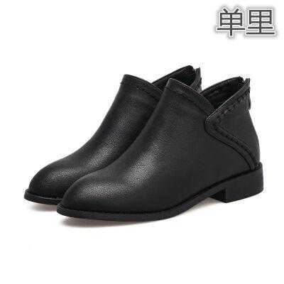 短靴女粗跟马丁靴英伦风女鞋2018新款秋冬平底女复古单靴潮 黑色 35
