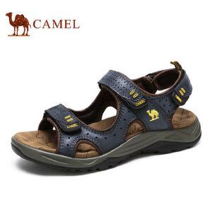 camel骆驼男鞋 春夏日常户外大休闲时尚牛皮网布魔术贴凉鞋