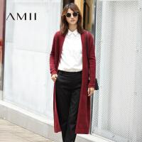 【AMII 超级品牌日】AMII[极简主义]秋冬季宽松中长款纯色开衫长袖毛衣外套女11691815