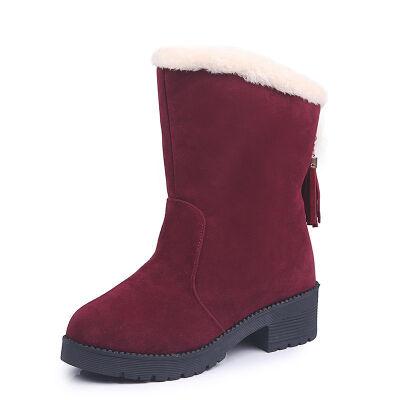 新款百搭磨砂中筒流苏雪地靴女短靴秋冬低跟棉鞋学生马丁靴
