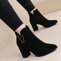 秋冬新款韩版高跟女靴裸靴尖头切尔西靴复古女鞋粗跟绒面女短靴 黑色 35
