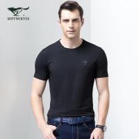 七匹狼短袖T恤男士夏季新款时尚休闲纯色圆领T短袖t夏装男