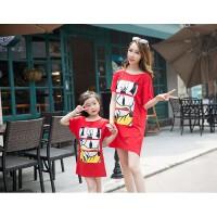 新款韩版夏季亲子装t恤短袖中长款卡通露背母女装夏装连衣裙