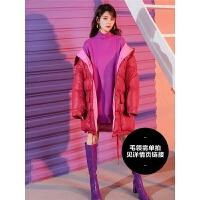 七格格红色羽绒服女2018新款韩版宽松时尚欧货面包服中长款冬季潮