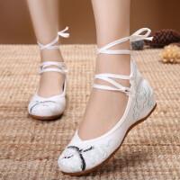 新款原创古风鞋坡跟绣花鞋民族风内增高布鞋汉服配鞋古装女单鞋子