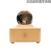 小王子玫瑰花 水晶球音乐盒旋转小王子玫瑰花八音盒木质天空之城送女生生日礼物