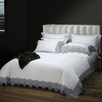 蕾丝床上用品纯棉100支全棉四件套欧式结婚被套提花床单被罩 2.0m(6.6英尺)床 床单