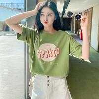 高梵2021夏季新款女装T恤抹茶绿圆领时尚直筒袖口时尚纯棉T恤