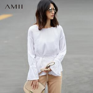 Amii[极简主义]秋装新宽松落肩镂空绑带喇叭袖雪纺衫中长款
