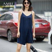 【AMII 超级品牌日】Amii[极简主义]夏装2017新款女短裙V领露背小吊带连衣裙11772107