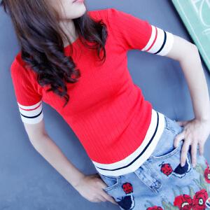 韩版简约修身t恤女圆形拼色细条纹螺纹紧身短袖套头针织衫撞色夏