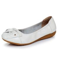 头层牛皮浅口女鞋牛筋底软底妈妈单鞋时尚平底懒人豆豆鞋
