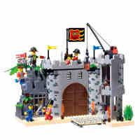 启蒙积木小颗粒拼装模型6岁-12岁儿童益智玩具海盗系列劫兵营310