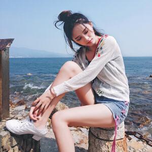 谜秀 2017夏季新款韩版刺绣短外套女装针织开衫夏秋装空调防晒衫
