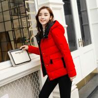 反季羽绒服女短款加厚2018新款韩版时尚撞色连帽修身红色羽绒袄潮