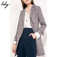 Lily春新款女装商务灰紫格纹双排扣收腰修身中长款风衣1914