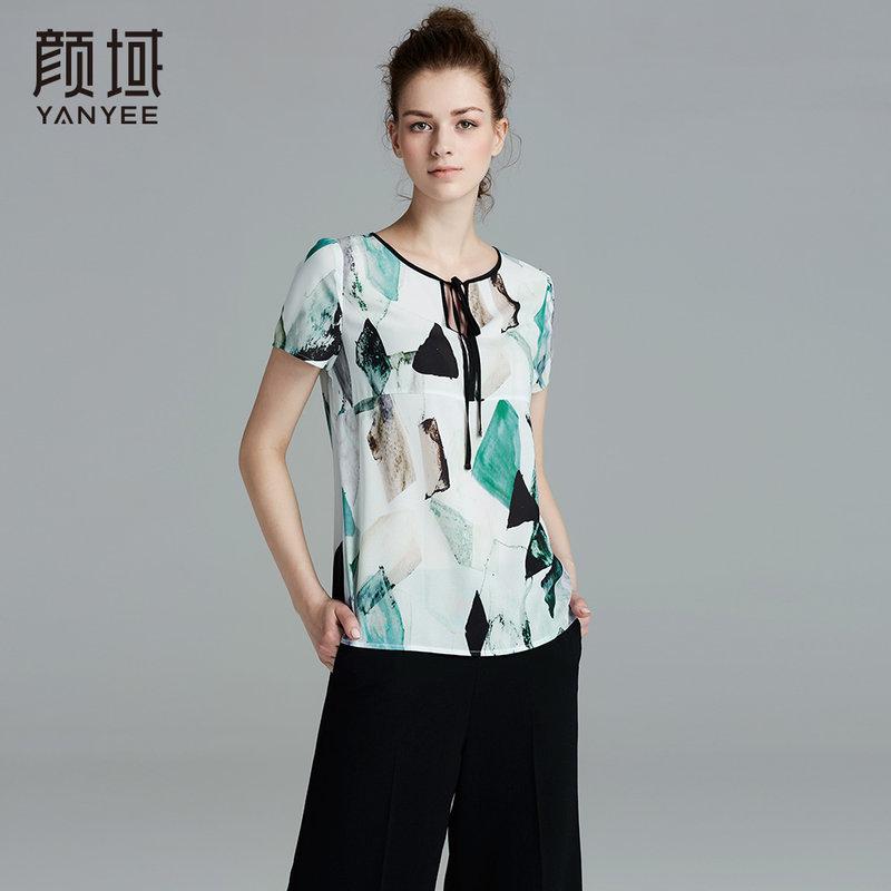 颜域品牌女装2017夏季新款优雅百搭直筒圆领系带印花透气上衣女系带设计 舒适面料