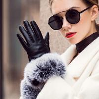 真皮女士羊皮手套秋冬季大毛口兔毛加绒加厚保暖手套防风开车触屏