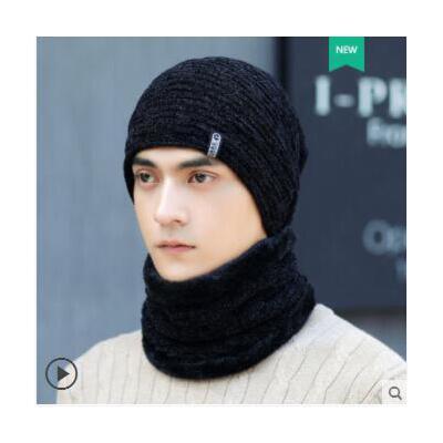 简约纯色套头针织帽帽子男士加绒骑车保暖护耳围脖毛线帽户外时尚