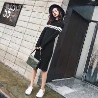 针织连衣裙秋冬2018新款长袖韩版条纹显瘦内搭打底中长裙子毛衣女