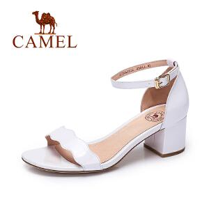 camel骆驼女鞋  春夏新款 时尚露趾高跟鞋 优雅漆皮一字扣凉鞋