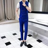 春秋新款男士修身两件套韩版纯色西装马夹时尚发型师潮马甲裤套装