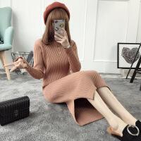 半高领中长款套头毛衣裙女装2018秋冬季新款针织衫过膝打底连衣裙 棕色袖口开叉 均码