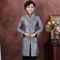 春秋季长袖中式中年女士妈妈中长款修身喜庆加肥加大码唐装风衣