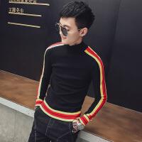 网红款半高领毛衣男冬季韩版修身社会人精神小伙潮流套头针织线衫