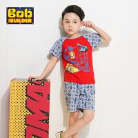 [满200减100]BOB巴布工程师童装男童夏装卡通纯棉印花T恤短袖+短裤两件套