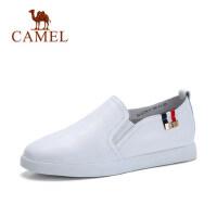 camel 骆驼真皮小白鞋新款女式皮鞋平底皮面女鞋休闲乐福鞋百搭单鞋