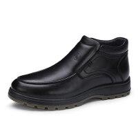 骆驼牌男鞋靴子 冬季新品头层牛皮套脚厚底男鞋保暖绒里男皮靴