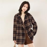 【418超品日,每满100减50再叠券163】【100%绵羊毛】大衣女流行时尚简洁西装领设计羊羔毛女外套
