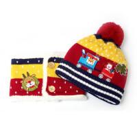 韩版冬季加绒婴儿帽火车款男宝宝冬天帽子女童帽子围巾两件套装