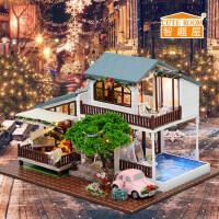 智趣屋diy小屋伦敦假日手工小房子拼装模型玩具女友创意生日礼物