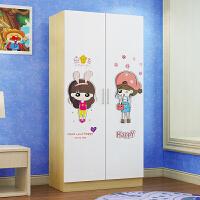 儿童衣柜木质质 板式小衣柜组装简易卡通卧室 180高白枫 卡通女孩 2门 组装