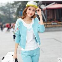 韩版时尚潮流印花女士修身运动三件套 新款卫衣休闲套装