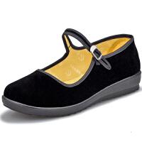 老北京布鞋女鞋厚底工作鞋黑色坡跟防水台女单鞋平底妈妈舞蹈鞋酒店工作鞋护士鞋劳保鞋女鞋