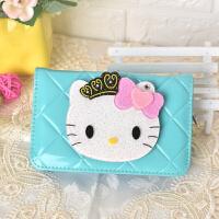 猫镜子卡通零钱包女 新款动漫可爱学生儿童长短款皮夹