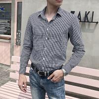 雅痞商务蓝色格子衬衫男士修身韩版复古长袖休闲衬衣潮流青年外套