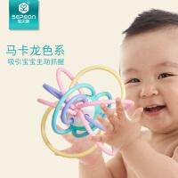 圣贝恩曼哈顿手抓球宝宝牙胶磨牙棒咬咬胶手摇铃早教婴儿益智玩具