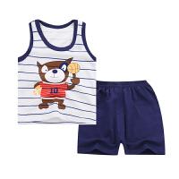 夏季薄款宝宝无袖套装纯棉儿童背心套装童装男童背心+短裤小童2-3