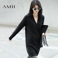 【AMII 超级品牌日】AMII[极简主义]冬新宽松V领落肩中长纯色毛织连衣裙11683623