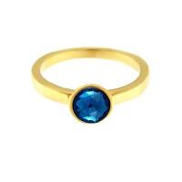 Krystle penza设计师MVintage 石头系列-智慧蓝色玻璃项戒指Wisdom Ring, Dainty