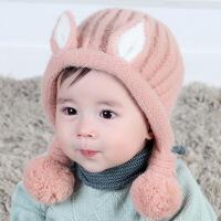 宝宝帽子秋冬季新生儿胎帽0-3-6个月婴儿毛线帽男女孩公主可爱帽