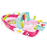 育儿宝 过家家玩具 电动钓鱼玩具船幼儿宝宝3-6岁灯光声效可加水仿真厨房做饭套装2合1男孩女孩礼物儿童玩具用品