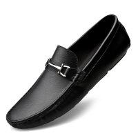 男鞋夏季牛皮豆豆鞋男软底驾车鞋韩版百搭商务休闲正装皮鞋男牛皮黑色潮鞋