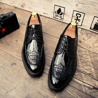 布洛克英伦皮鞋男夏季厚底增高男士休闲鞋发型师亮面韩版青年潮鞋